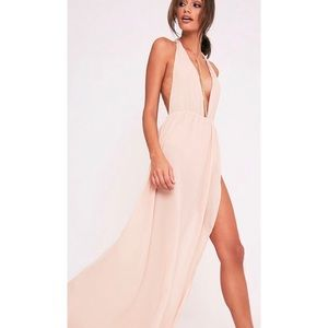 Nude Backless Maxi Dress